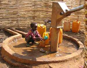 Girl at well