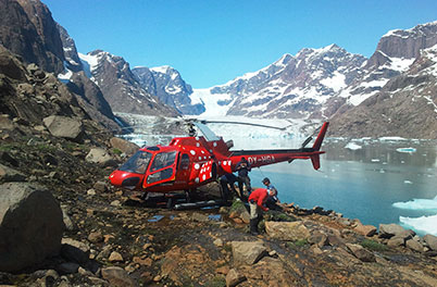 REE exploration by helicopter in Greenland.
